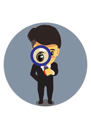 businessman magnifying lens