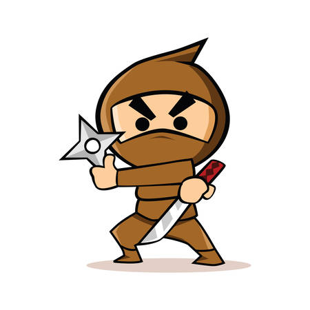 weapons: angry ninja with weapons Illustration