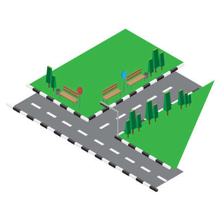 junction: isometric drawing of road junction Illustration