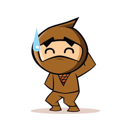 sweating: ninja getting sweat Illustration