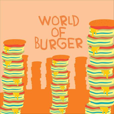 heaps: world of burger design Illustration