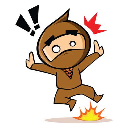 exclamatory: ninja with fire and exclamatory Illustration