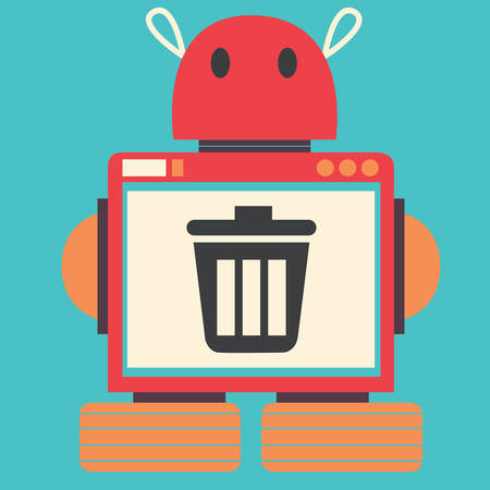 trashcan: robot with trashcan