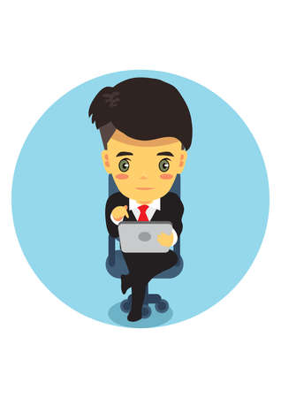 lap top: businessman with lap top Illustration