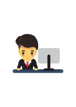 near: businessman near monitor Illustration