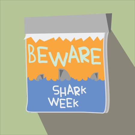 cautioning: beware of sharks notice Illustration