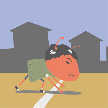 starting line: red ant at the starting line Illustration