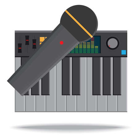 the electronic: electronic keyboard and microphone Illustration