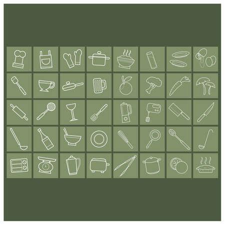 weight machine: set of kitchen icons Illustration