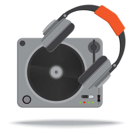 turntable: turntable and headphones