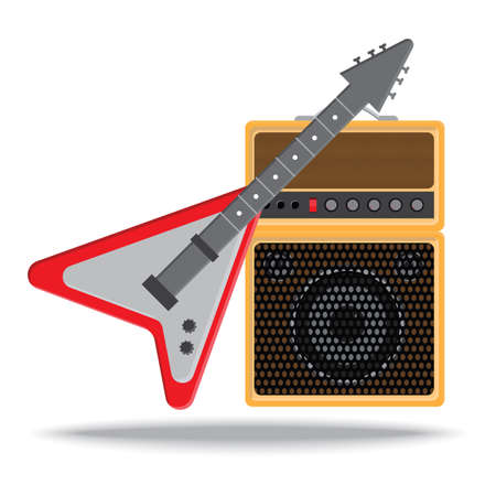 amplifier: electronic guitar and amplifier Illustration