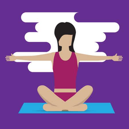 variation: girl practising yoga in easy pose variation Illustration