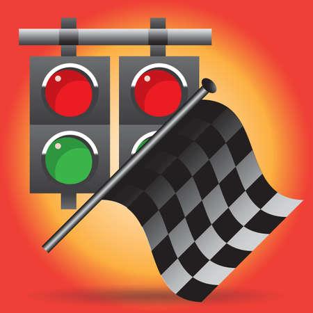 race flag: race flag and lights