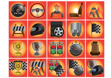 motor race: collection of motor race equipment Illustration
