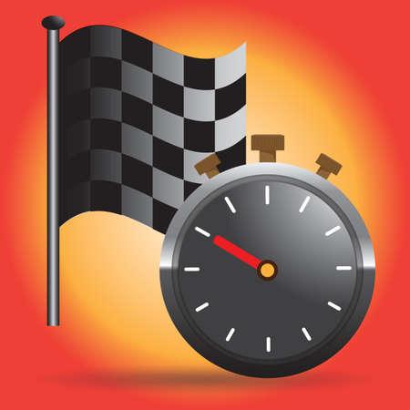 race flag: race flag and stopwatch