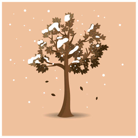 snowfalls: tree covered in snow