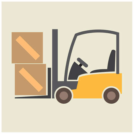fork lift: fork lift with cardboard boxes