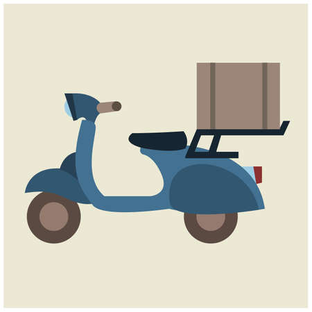 two wheeler: delivery scooter with parcel box Illustration