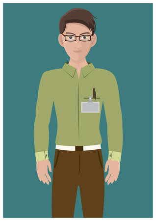 guy standing: man with identification card