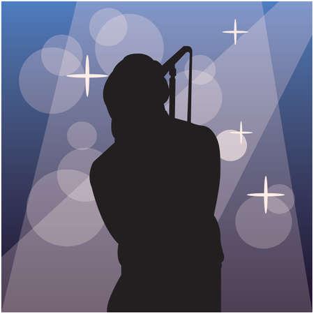 singer silhouette: silhouette of a singer Illustration