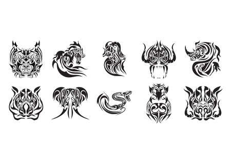 eber: Sammlung von Tier-Tattoo-Design