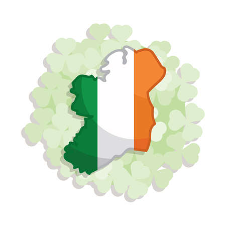 irish map: ireland flag