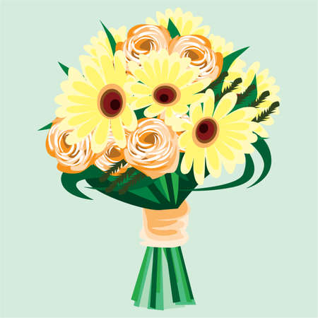rose bouquet: a bouquet of sunflowers and rose flowers Illustration