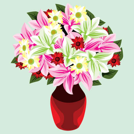 bunch: colorful bunch of flowers in vase Illustration