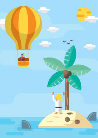 hands in the air: boy waving hands at man in hot air balloon Illustration