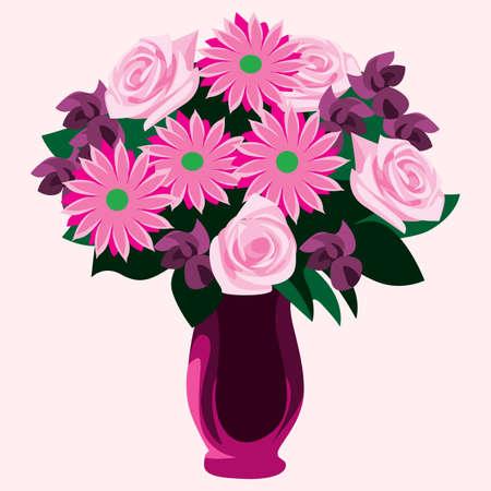 dahlia: dahlia and roses flowers in vase