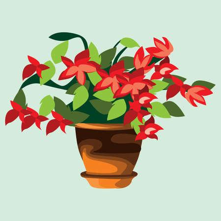 pote de flor roja Ilustración de vector