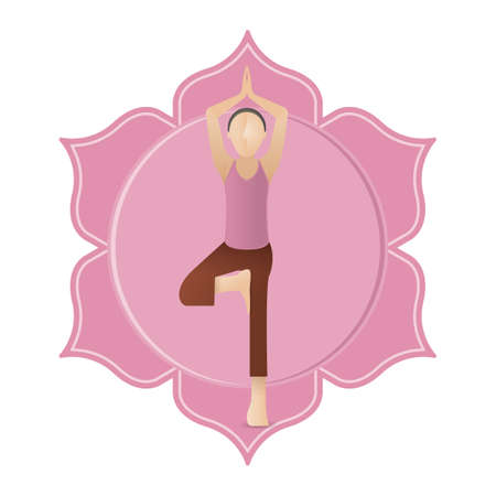 yoga asana tree pose: girl practising yoga in tree pose Illustration