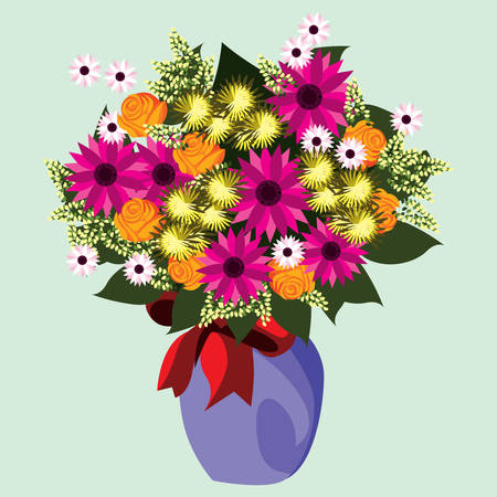 flores de colores en el florero