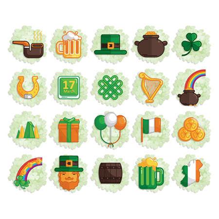 caballo bebe: conjunto de iconos de día de St.Patrick Vectores