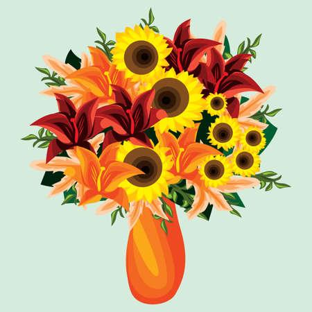 pastures: yellow flowers in vase Illustration