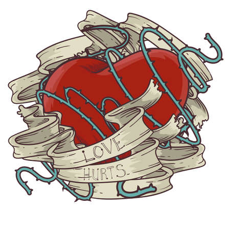 love hurts: heart tattoo design