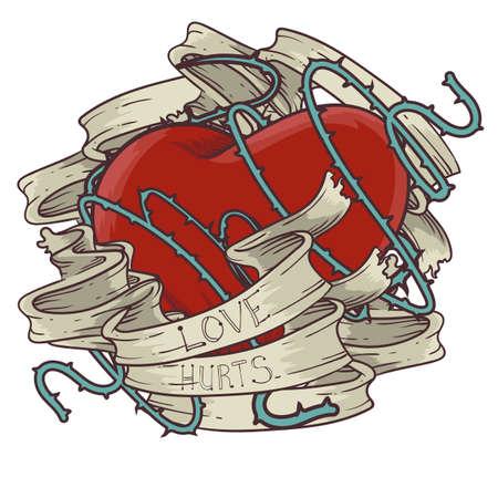 love hurts: heart tattoo design