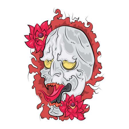 evil face: evil face tattoo design Illustration