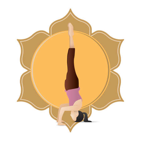supported: girl practising yoga in supported headstand pose