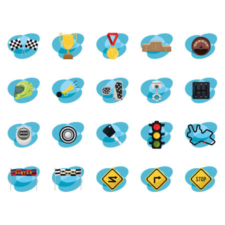 motor racing: motor racing icons Illustration