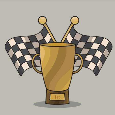 checker flag: trophy with race flags