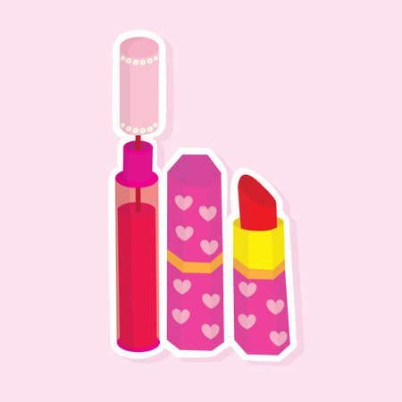 lip gloss: lip gloss and lipstic Illustration