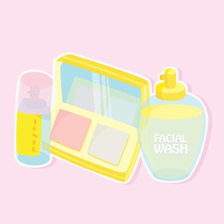 facial: facial wash and toner Illustration