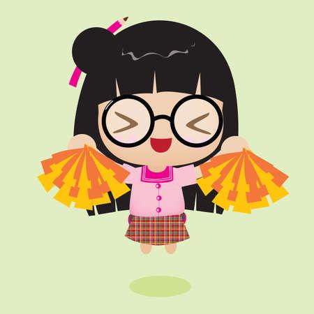 pom: girl holding pom pom Illustration