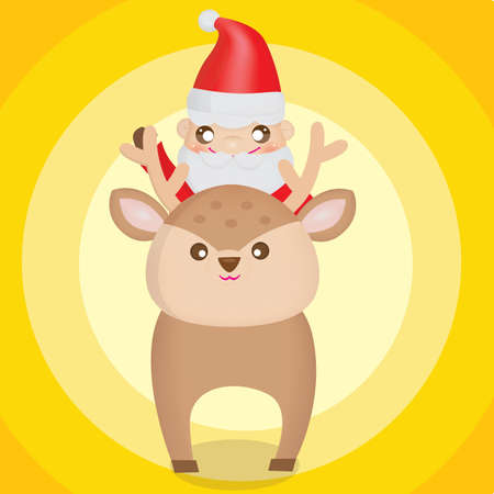 x mas background: santa claus sitting on reindeer