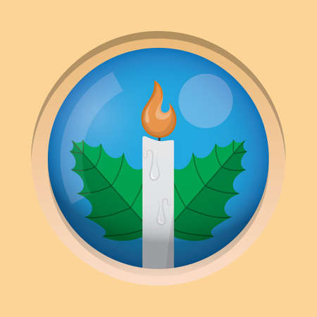 candle flame: candle flame with leaves button Illustration