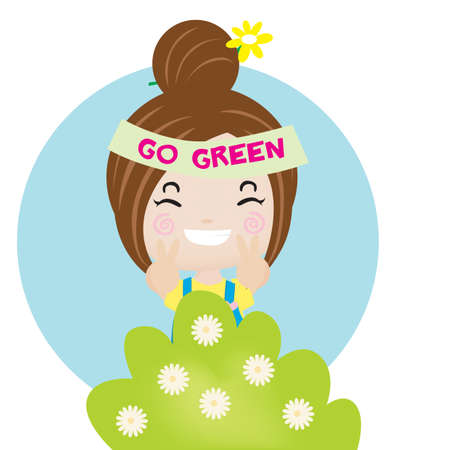 headband: girl with go green headband