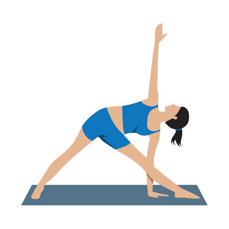asana: triangle standing asana Illustration