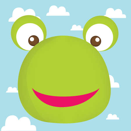 amphibians: frog face on cloud background