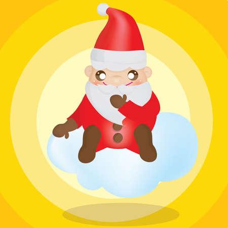 x mas background: santa claus sitting on cloud